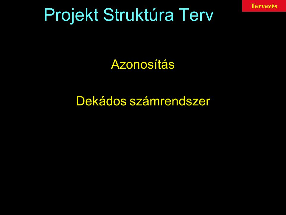 Projekt Struktúra Terv Azonosítás Dekádos számrendszer Tervezés