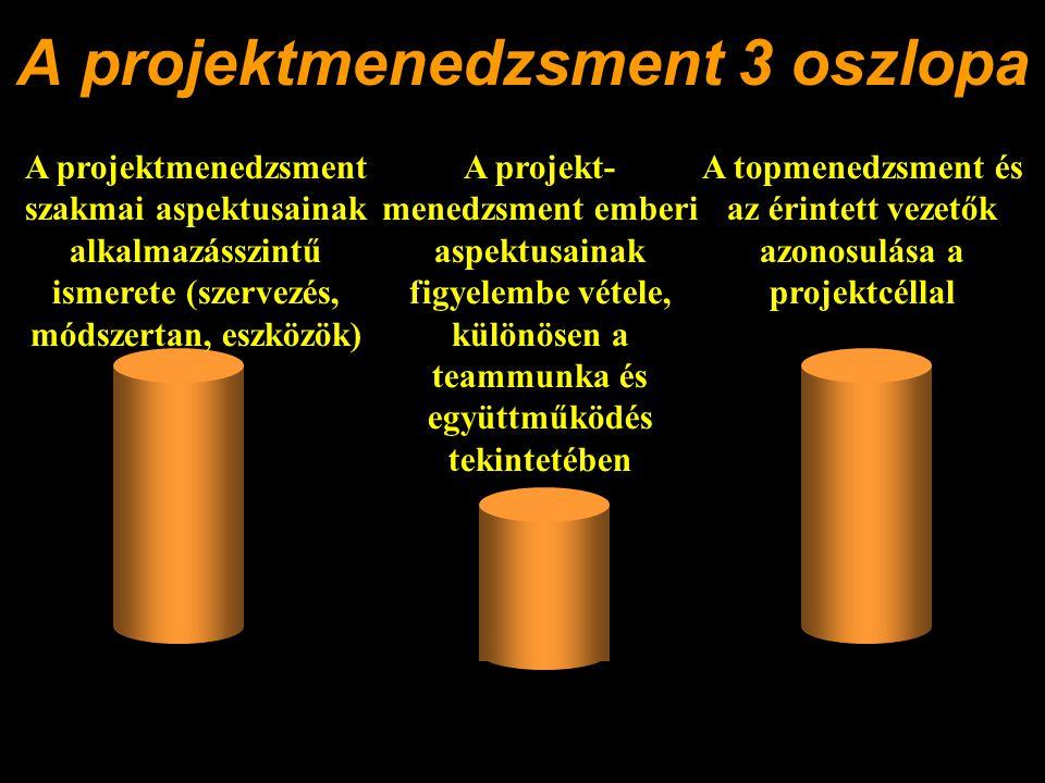 A projektmenedzsment 3 oszlopa A projektmenedzsment szakmai aspektusainak alkalmazásszintű ismerete (szervezés, módszertan, eszközök) A topmenedzsment és az érintett vezetők azonosulása a projektcéllal A projekt- menedzsment emberi aspektusainak figyelembe vétele, különösen a teammunka és együttműködés tekintetében