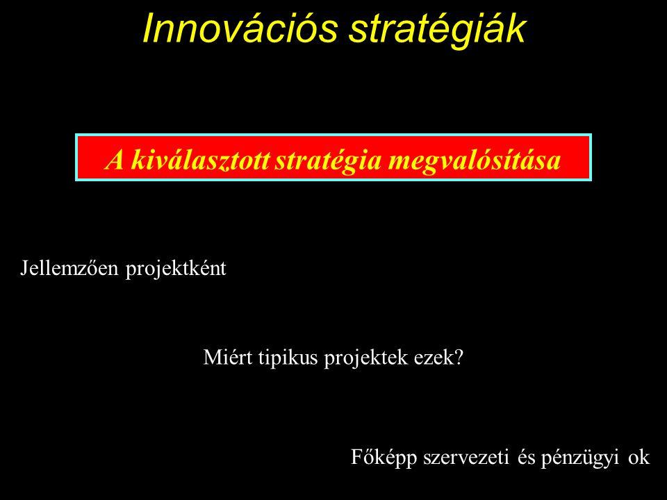 Innovációs stratégiák A kiválasztott stratégia megvalósítása Jellemzően projektként Miért tipikus projektek ezek.