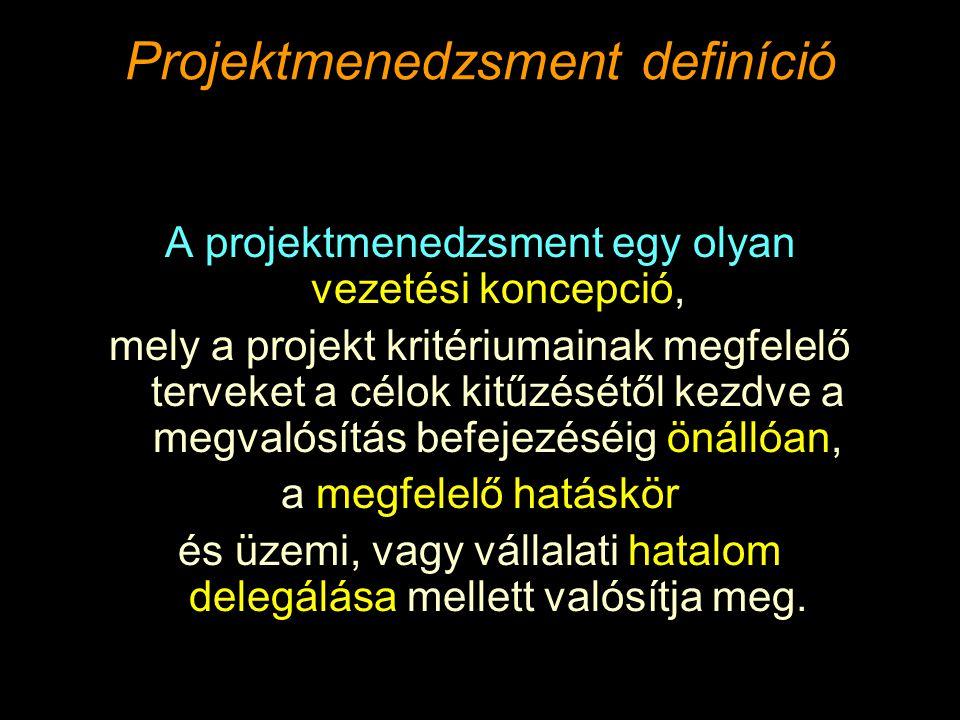 Projektmenedzsment definíció A projektmenedzsment egy olyan vezetési koncepció, mely a projekt kritériumainak megfelelő terveket a célok kitűzésétől kezdve a megvalósítás befejezéséig önállóan, a megfelelő hatáskör és üzemi, vagy vállalati hatalom delegálása mellett valósítja meg.