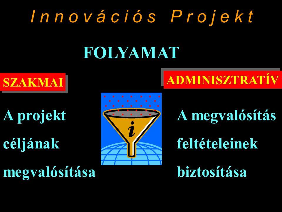 I n n o v á c i ó s P r o j e k t SZAKMAI ADMINISZTRATÍV FOLYAMAT A projekt céljának megvalósítása A megvalósítás feltételeinek biztosítása