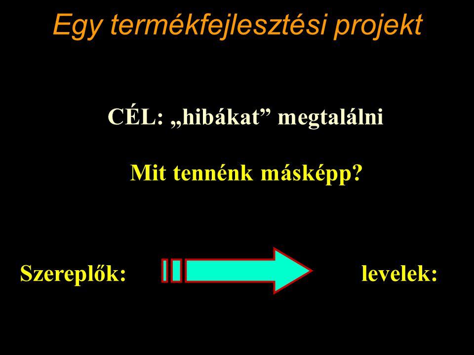 """Egy termékfejlesztési projekt CÉL: """"hibákat megtalálni Mit tennénk másképp."""