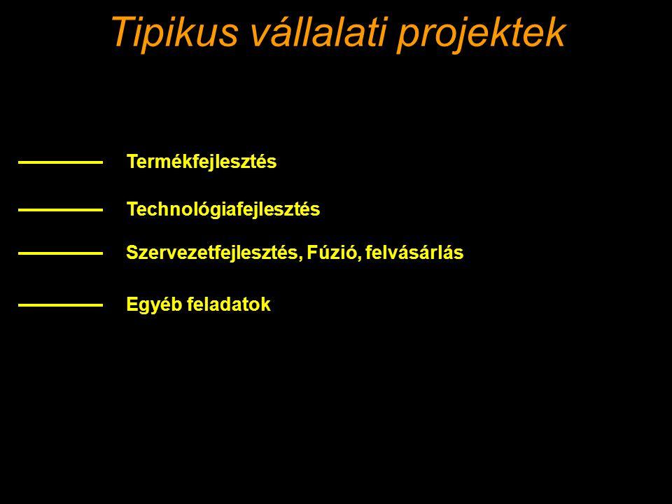 Tipikus vállalati projektek Termékfejlesztés Technológiafejlesztés Szervezetfejlesztés, Fúzió, felvásárlás Egyéb feladatok