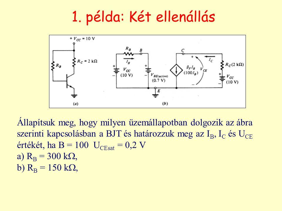 1. példa: Két ellenállás Állapítsuk meg, hogy milyen üzemállapotban dolgozik az ábra szerinti kapcsolásban a BJT és határozzuk meg az I B, I C és U CE