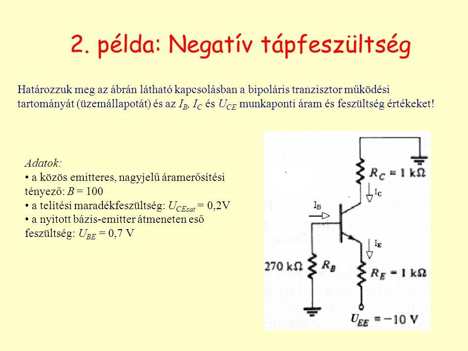 2. példa: Negatív tápfeszültség Adatok: a közös emitteres, nagyjelű áramerősítési tényező: B = 100 a telítési maradékfeszültség: U CEsat = 0,2V a nyit