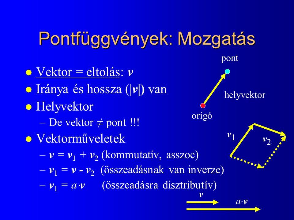Pontfüggvények: Mozgatás l Vektor = eltolás: v l Iránya és hossza (|v|) van l Helyvektor –De vektor ≠ pont !!! l Vektorműveletek –v = v 1 + v 2 (kommu