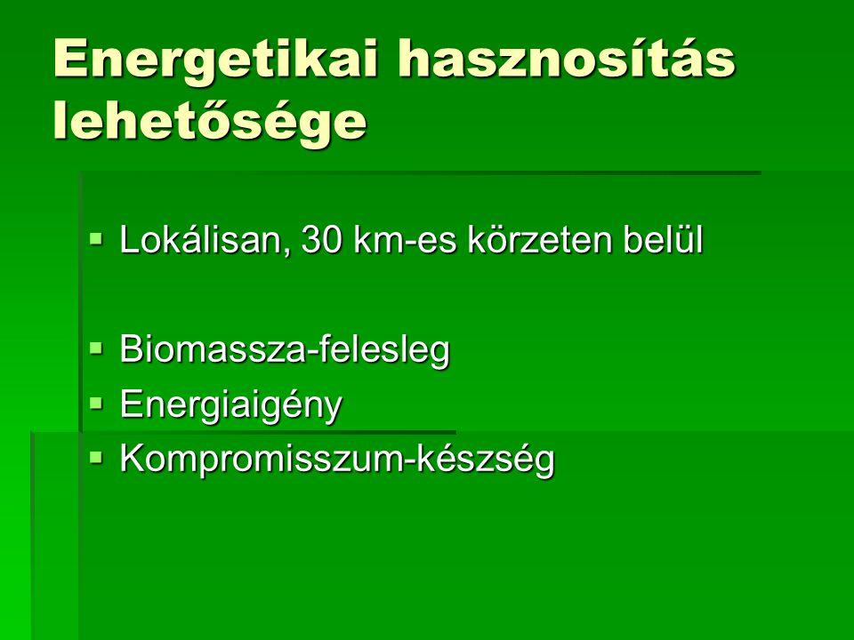 Biomassza energetikai hasznosításának előnyei  Szén-dioxid semleges energiaforrás (?)  Importfüggőség csökkentése Ellátásbiztonság  Élelmiszer-túltermelés csökkentése mezőgazdasági struktúraváltással  Munkahelyeket teremt