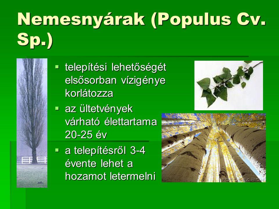 Akác (Robinia pseudoacacia)  a laza és középkötött, homokos és vályogos, meleg talajokat kedveli  egy ültetvény élettartama hozzávetőlegesen 20 év  2-5 évente vágható