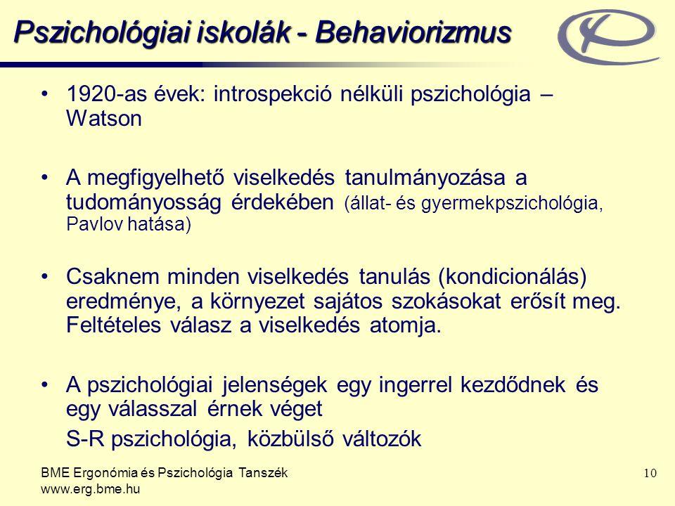 BME Ergonómia és Pszichológia Tanszék www.erg.bme.hu 10 Pszichológiai iskolák - Behaviorizmus 1920-as évek: introspekció nélküli pszichológia – Watson