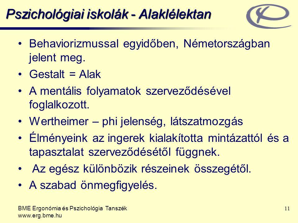 BME Ergonómia és Pszichológia Tanszék www.erg.bme.hu 11 Pszichológiai iskolák - Alaklélektan Behaviorizmussal egyidőben, Németországban jelent meg. Ge