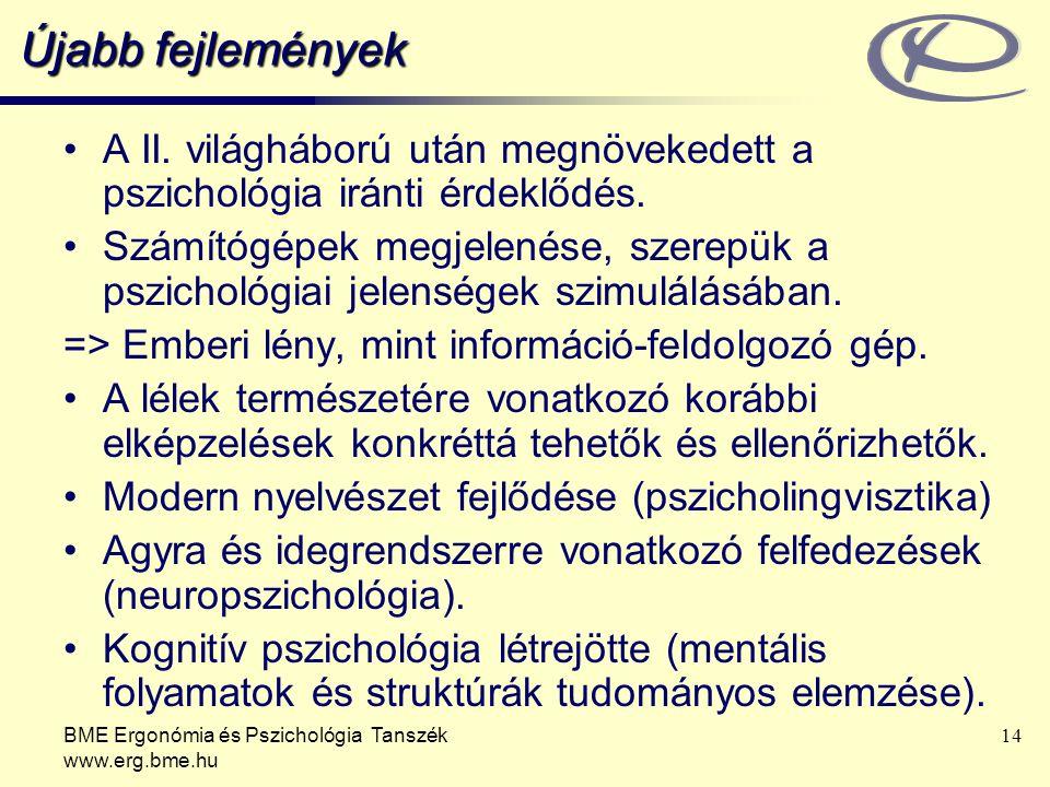BME Ergonómia és Pszichológia Tanszék www.erg.bme.hu 14 Újabb fejlemények A II. világháború után megnövekedett a pszichológia iránti érdeklődés. Számí