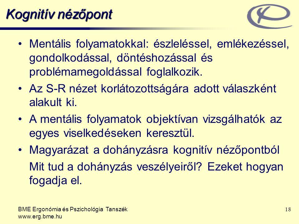 BME Ergonómia és Pszichológia Tanszék www.erg.bme.hu 18 Kognitív nézőpont Mentális folyamatokkal: észleléssel, emlékezéssel, gondolkodással, döntéshoz