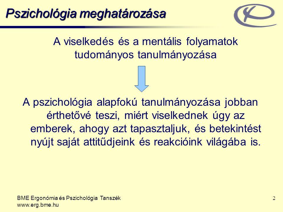 BME Ergonómia és Pszichológia Tanszék www.erg.bme.hu 23 A pszichológia területei Biológiai pszichológia Kísérleti, kognitív pszichológia Fejlődéslélektan: Hogyan fejlődik az ember Szociálpszichológia: Más személyekkel való kapcsolatok hogyan befolyásolják az attitűdöket és a viselkedést (pl.