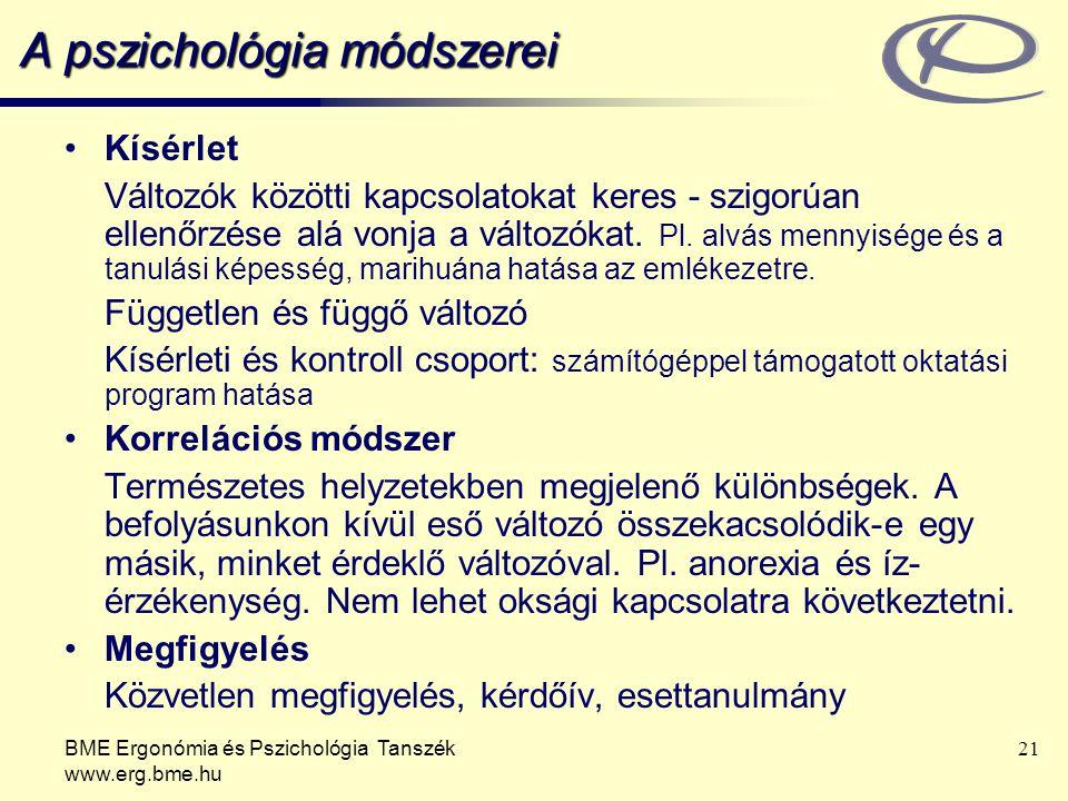 BME Ergonómia és Pszichológia Tanszék www.erg.bme.hu 21 A pszichológia módszerei Kísérlet Változók közötti kapcsolatokat keres - szigorúan ellenőrzése