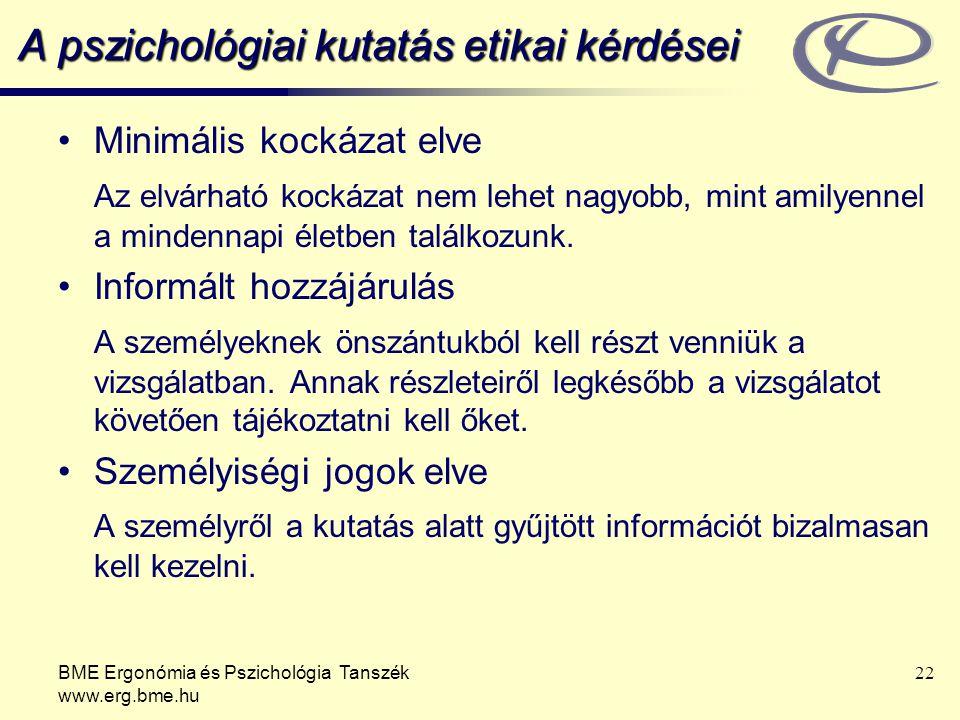 BME Ergonómia és Pszichológia Tanszék www.erg.bme.hu 22 A pszichológiai kutatás etikai kérdései Minimális kockázat elve Az elvárható kockázat nem lehe