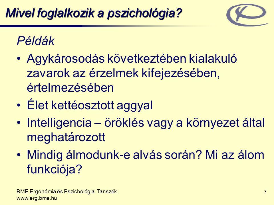 BME Ergonómia és Pszichológia Tanszék www.erg.bme.hu 3 Mivel foglalkozik a pszichológia? Példák Agykárosodás következtében kialakuló zavarok az érzelm