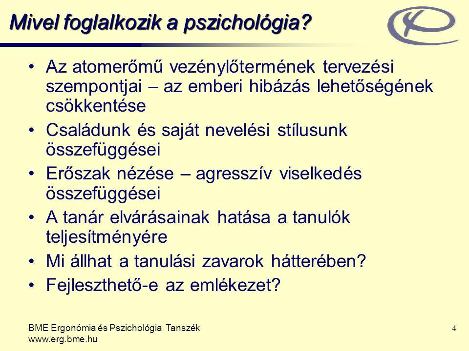 BME Ergonómia és Pszichológia Tanszék www.erg.bme.hu 4 Mivel foglalkozik a pszichológia? Az atomerőmű vezénylőtermének tervezési szempontjai – az embe