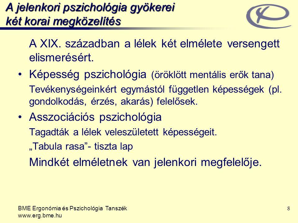 BME Ergonómia és Pszichológia Tanszék www.erg.bme.hu 8 A jelenkori pszichológia gyökerei két korai megközelítés A XIX. században a lélek két elmélete