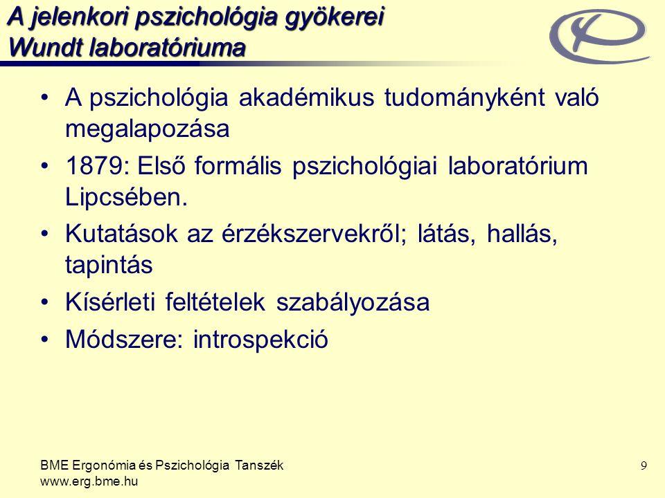 BME Ergonómia és Pszichológia Tanszék www.erg.bme.hu 10 Pszichológiai iskolák - Behaviorizmus 1920-as évek: introspekció nélküli pszichológia – Watson A megfigyelhető viselkedés tanulmányozása a tudományosság érdekében (állat- és gyermekpszichológia, Pavlov hatása) Csaknem minden viselkedés tanulás (kondicionálás) eredménye, a környezet sajátos szokásokat erősít meg.
