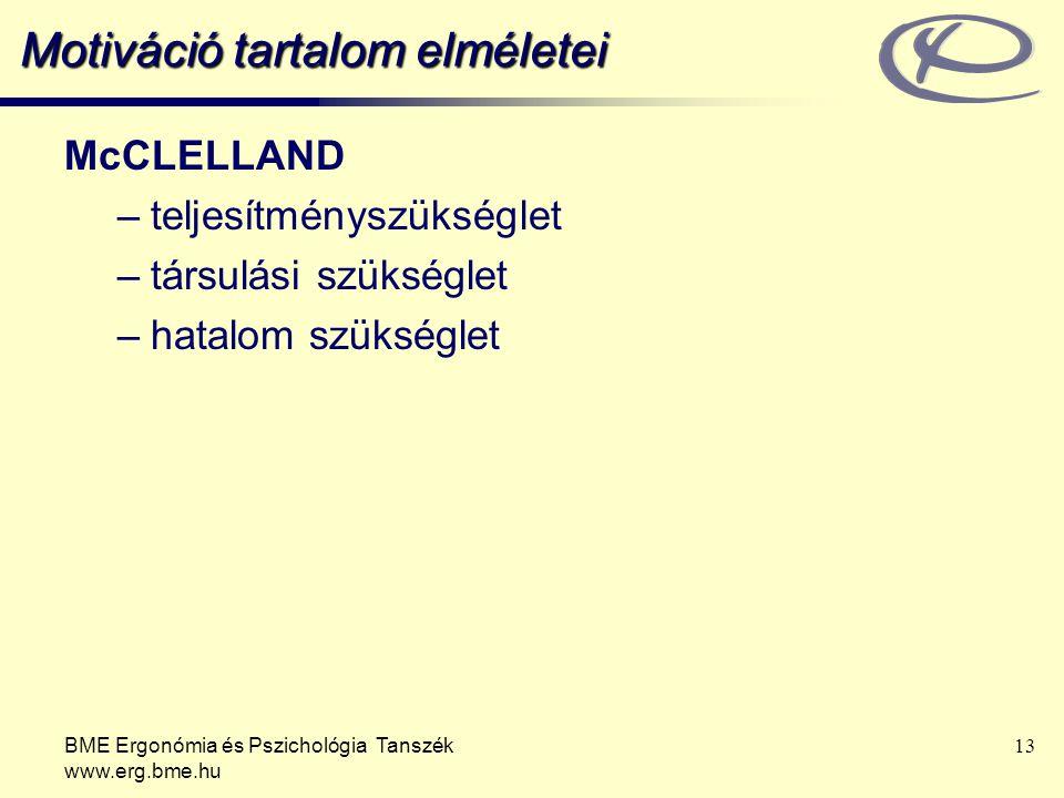 BME Ergonómia és Pszichológia Tanszék www.erg.bme.hu 13 Motiváció tartalom elméletei McCLELLAND –teljesítményszükséglet –társulási szükséglet –hatalom