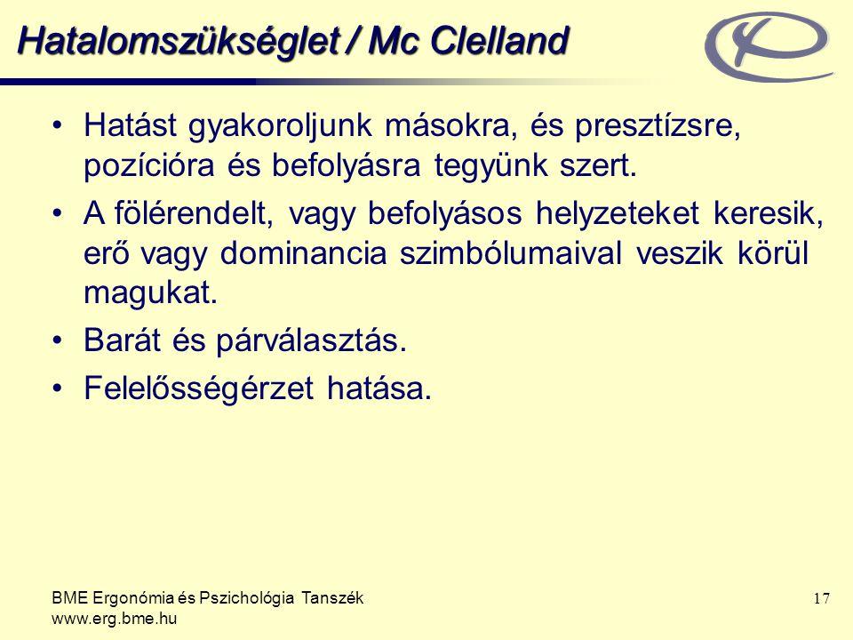 BME Ergonómia és Pszichológia Tanszék www.erg.bme.hu 17 Hatalomszükséglet / Mc Clelland Hatást gyakoroljunk másokra, és presztízsre, pozícióra és befo