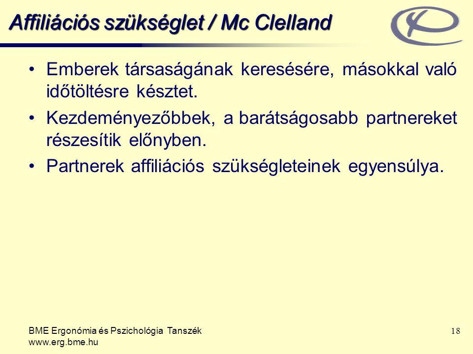BME Ergonómia és Pszichológia Tanszék www.erg.bme.hu 18 Affiliációs szükséglet / Mc Clelland Emberek társaságának keresésére, másokkal való időtöltésr