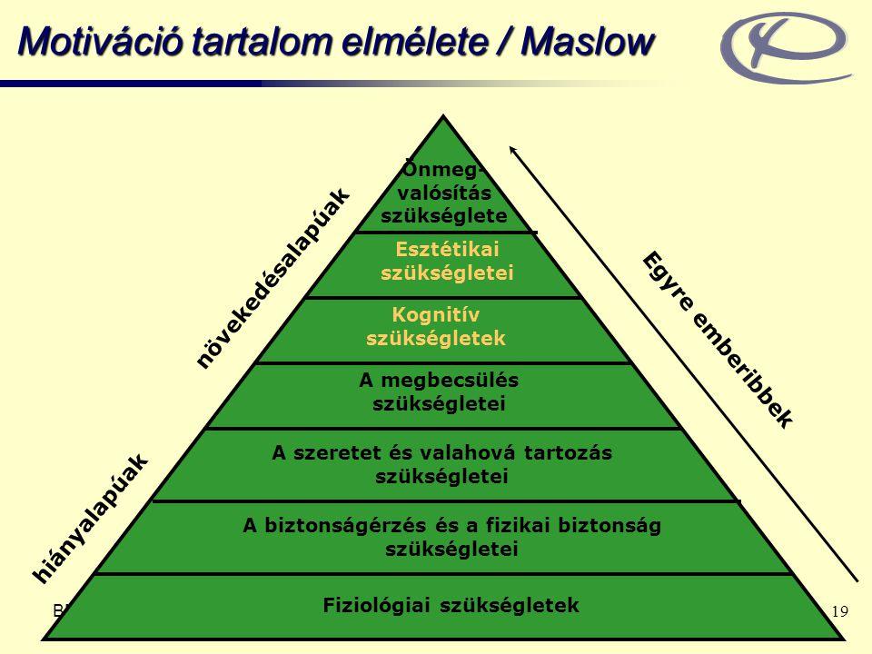 BME Ergonómia és Pszichológia Tanszék www.erg.bme.hu 19 Motiváció tartalom elmélete / Maslow Önmeg- valósítás szükséglete A megbecsülés szükségletei A szeretet és valahová tartozás szükségletei A biztonságérzés és a fizikai biztonság szükségletei Fiziológiai szükségletek hiányalapúak növekedésalapúak Egyre emberibbek Kognitív szükségletek Esztétikai szükségletei