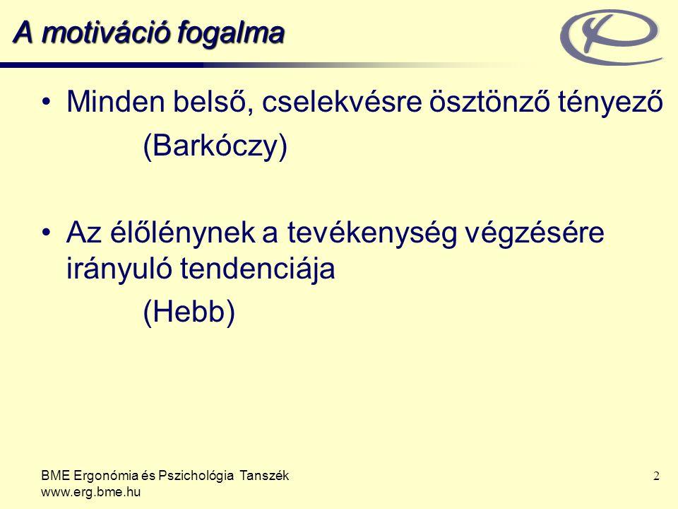 BME Ergonómia és Pszichológia Tanszék www.erg.bme.hu 3 A motiváció fajtái Belső – erőfeszítésiKülső – a céltárgy tényezők (önjutalmazó) vonzereje (instrumentális: jutalmazás vagy büntetés)