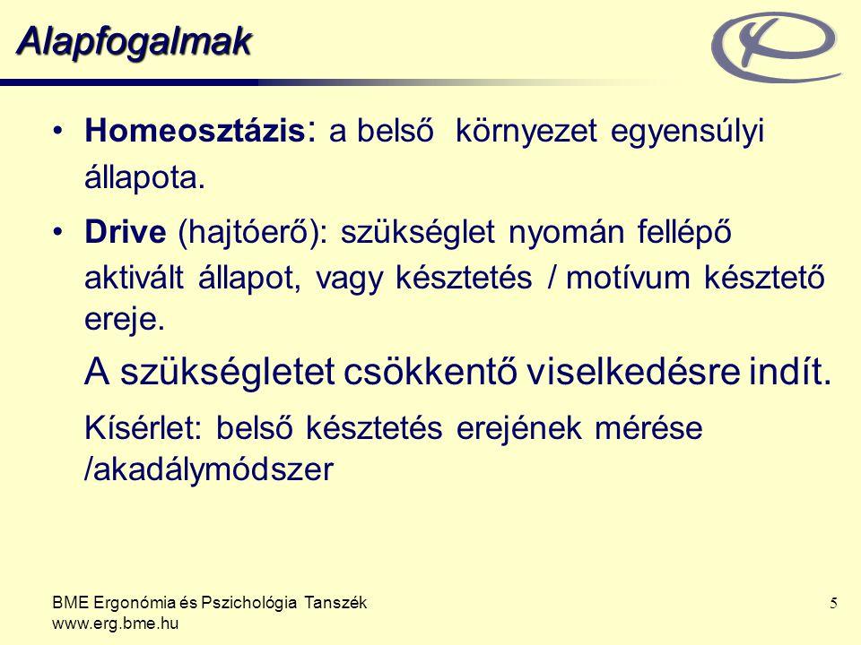 BME Ergonómia és Pszichológia Tanszék www.erg.bme.hu 5 Alapfogalmak Homeosztázis : a belső környezet egyensúlyi állapota. Drive (hajtóerő): szükséglet