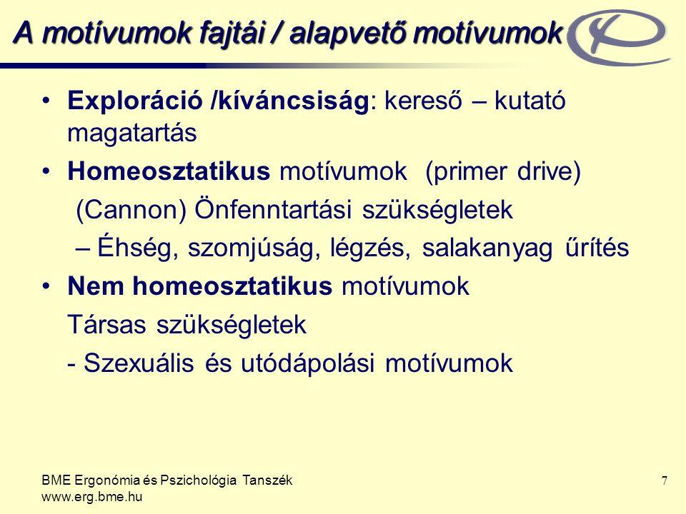 BME Ergonómia és Pszichológia Tanszék www.erg.bme.hu 7 A motívumok fajtái / alapvető motívumok Exploráció /kíváncsiság: kereső – kutató magatartás Hom