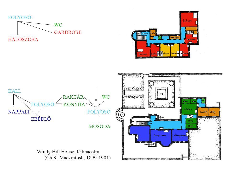 FOLYOSÓ WC GARDROBE HÁLÓSZOBA HALL RAKTÁR WC FOLYOSÓ KONYHA NAPPALI FOLYOSÓ EBÉDLŐ MOSODA Windy Hill House, Kilmacolm (Ch.R. Mackintosh, 1899-1901)
