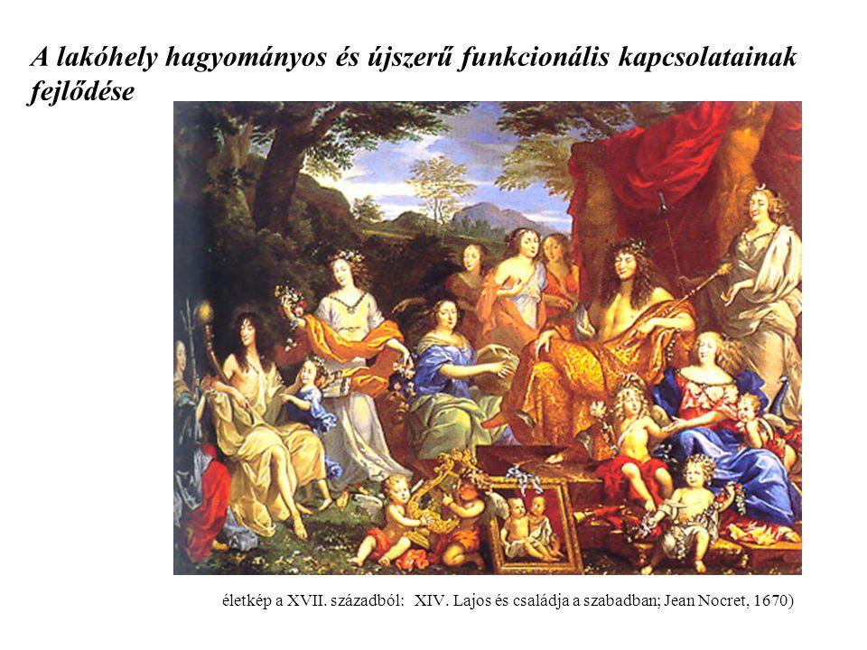 A lakóhely hagyományos és újszerű funkcionális kapcsolatainak fejlődése életkép a XVII. századból: XIV. Lajos és családja a szabadban; Jean Nocret, 16