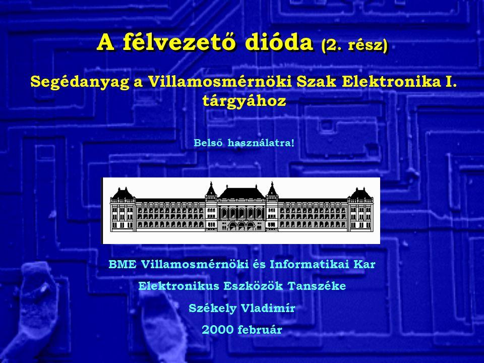 A félvezető dióda (2. rész) BME Villamosmérnöki és Informatikai Kar Elektronikus Eszközök Tanszéke Székely Vladimír 2000 február Segédanyag a Villamos