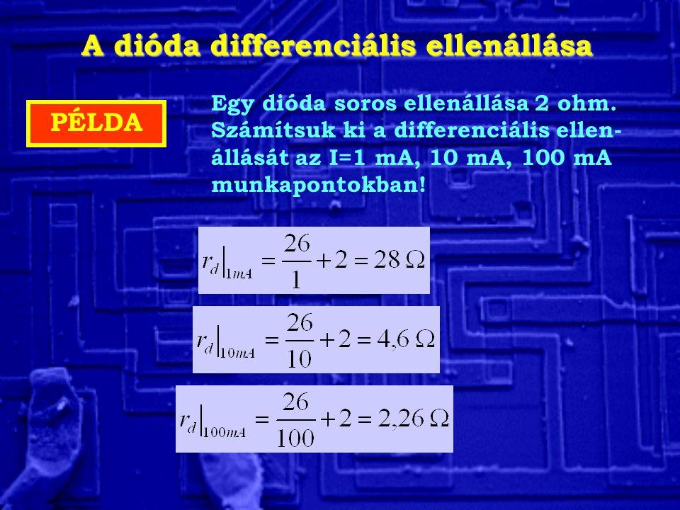 A dióda differenciális ellenállása PÉLDA Egy dióda soros ellenállása 2 ohm. Számítsuk ki a differenciális ellen- állását az I=1 mA, 10 mA, 100 mA munk