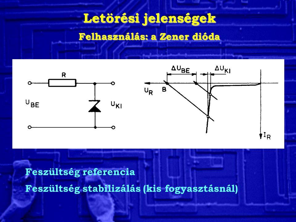 Letörési jelenségek Felhasználás: a Zener dióda Feszültség referencia Feszültség stabilizálás (kis fogyasztásnál)