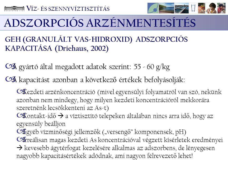 ADSZORPCIÓS ARZÉNMENTESÍTÉS GEH (GRANULÁLT VAS-HIDROXID) ADSZORPCIÓS KAPACITÁSA (Driehaus, 2002)  A gyártó által megadott adatok szerint: 55 - 60 g/k