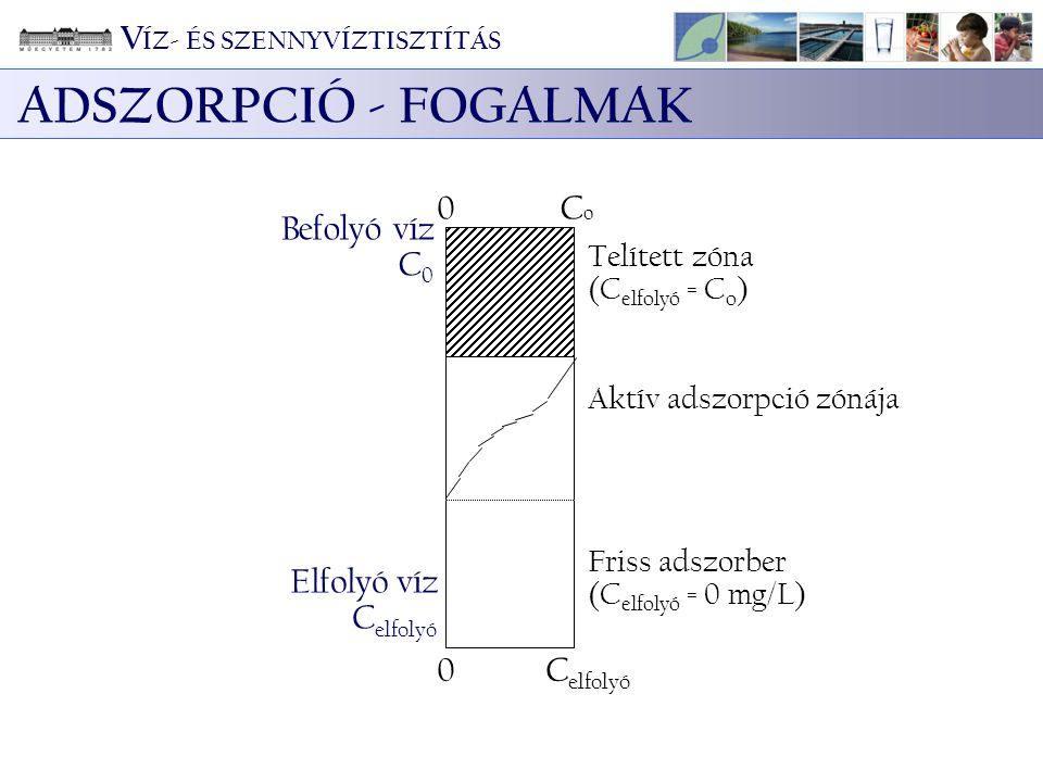 ADSZORPCIÓ - FOGALMAK Befolyó víz C 0 0CoCo Elfolyó víz C elfolyó 0 Aktív adszorpció zónája Telített zóna (C elfolyó = C o ) Friss adszorber (C elfoly