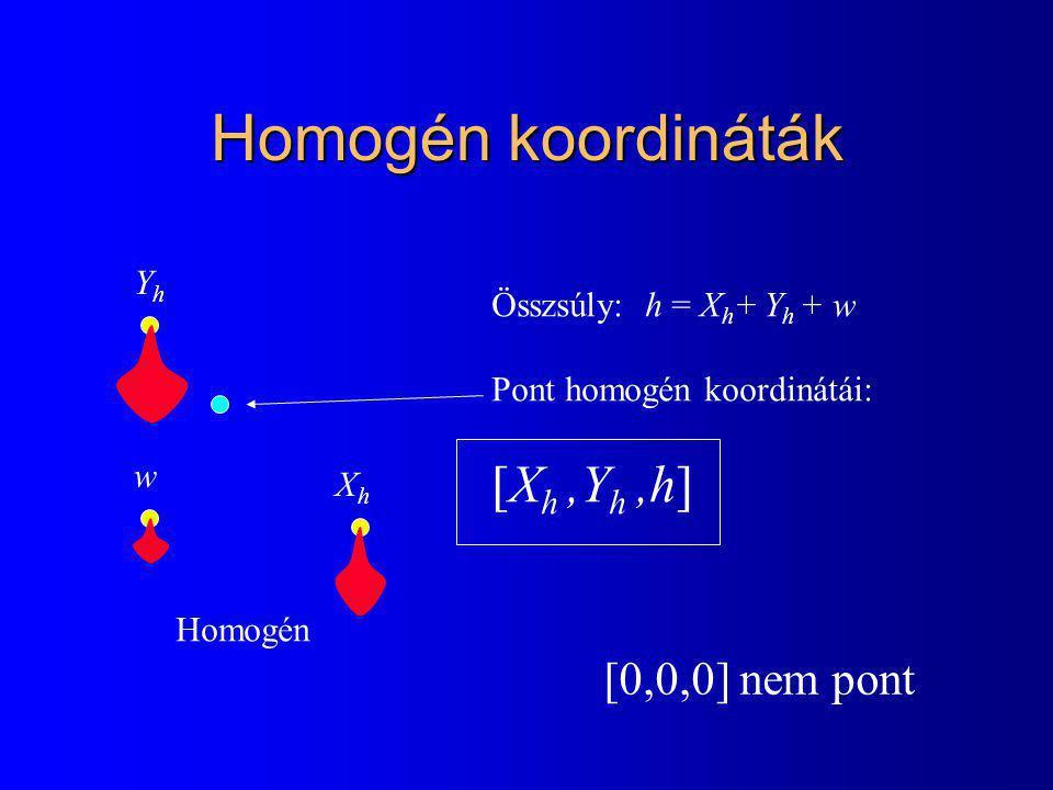 Homogén koordináták XhXh YhYh w Homogén Összsúly: h = X h + Y h + w Pont homogén koordinátái: [X h,Y h,h] [0,0,0] nem pont
