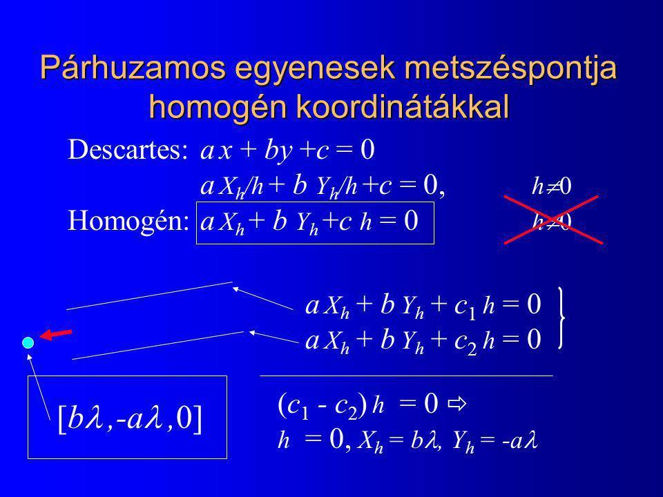 Descartes: a x + by +c = 0 a X h /h + b Y h /h +c = 0, h  0 Homogén:a X h + b Y h +c h = 0 h  0 a X h + b Y h + c 1 h = 0 a X h + b Y h + c 2 h = 0 (c 1 - c 2 ) h = 0  h = 0, X h = b, Y h = -a Párhuzamos egyenesek metszéspontja homogén koordinátákkal [b,-a,0]