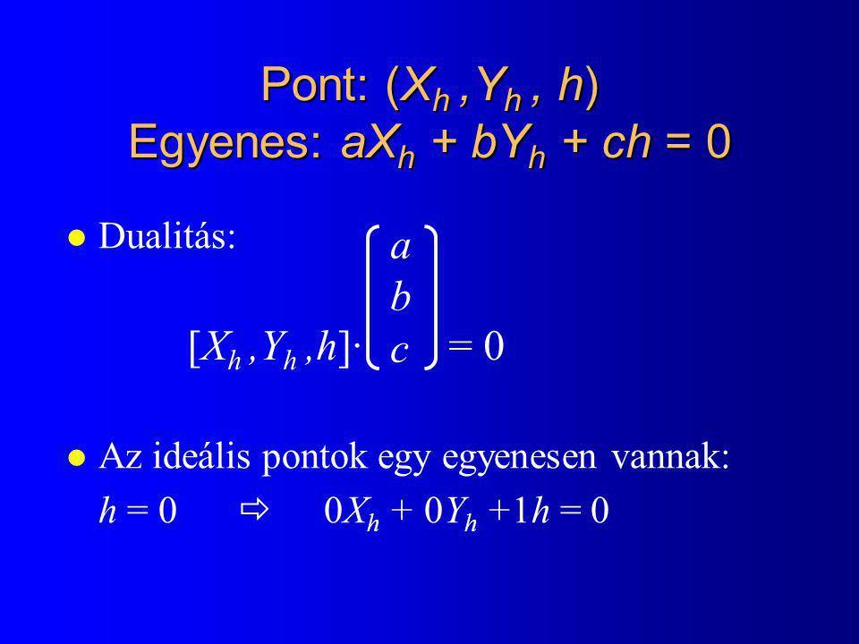 Pont: (X h,Y h, h) Egyenes: aX h + bY h + ch = 0 l Dualitás: l Az ideális pontok egy egyenesen vannak: h = 0  0X h + 0Y h +1h = 0 [X h,Y h,h]· = 0 abcabc