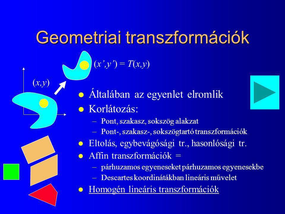 Geometriai transzformációk (x,y) (x',y') = T(x,y) l Általában az egyenlet elromlik l Korlátozás: –Pont, szakasz, sokszög alakzat –Pont-, szakasz-, sokszögtartó transzformációk l Eltolás, egybevágósági tr., hasonlósági tr.