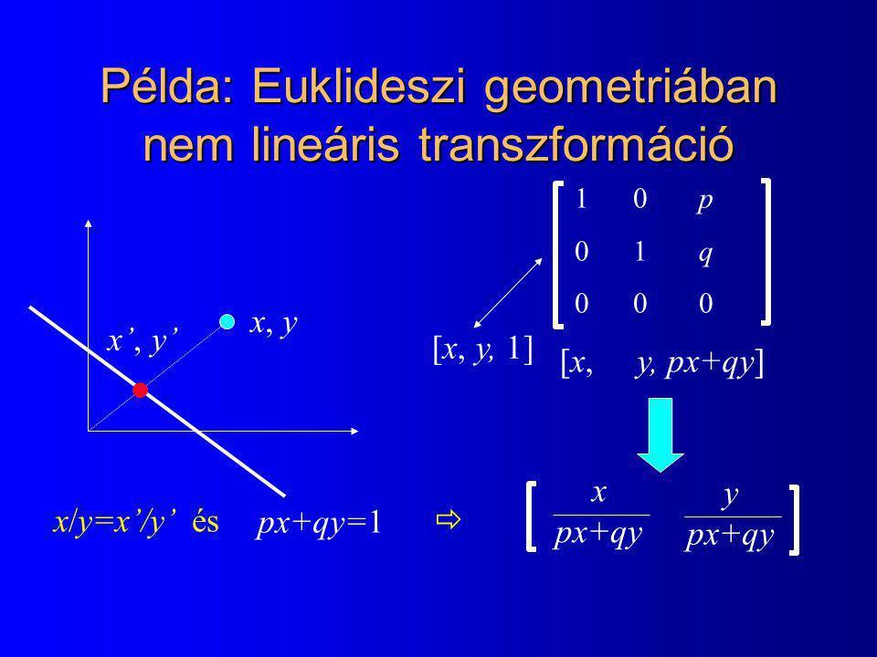 Példa: Euklideszi geometriában nem lineáris transzformáció 1  0 p 0 1 q 0 0 0 [x, y, 1] [x, y, px+qy] x px+qy y px+qy x, y x', y' px+qy=1 x/y=x'/y' és 