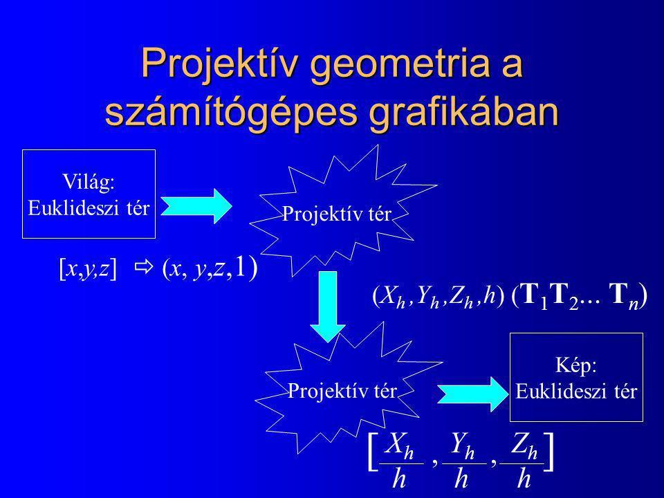 Projektív geometria a számítógépes grafikában Világ: Euklideszi tér Projektív tér Kép: Euklideszi tér [x,y,z]  (x, y,z,1) (X h,Y h,Z h,h) ( T 1 T 2...