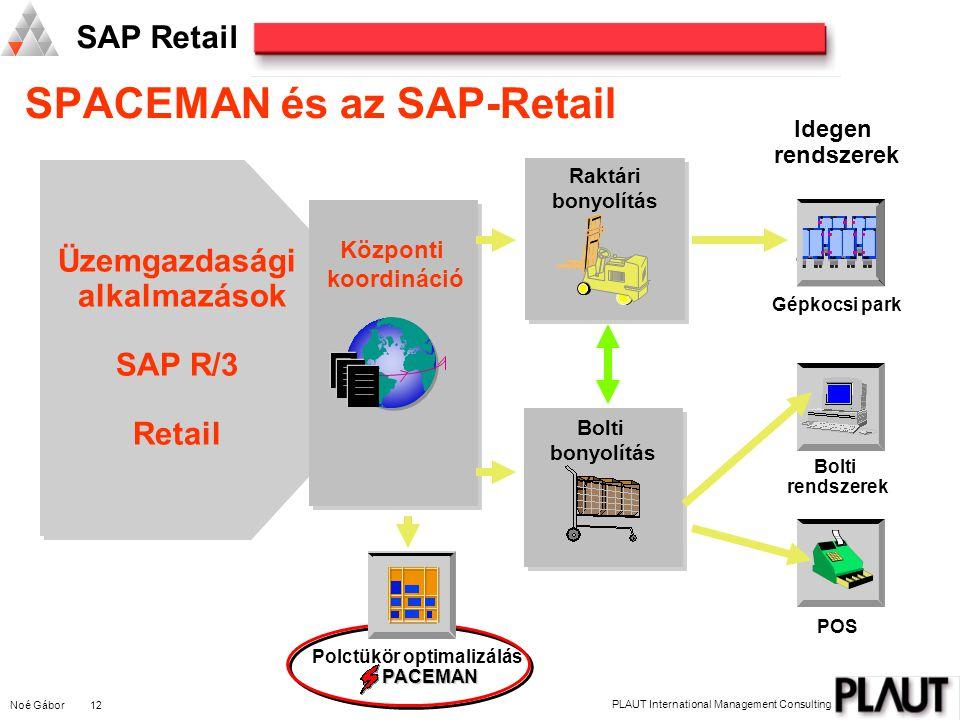 Noé Gábor 12 PLAUT International Management Consulting SAP Retail Bolti rendszerek Polctükör optimalizálás PACEMAN Üzemgazdasági alkalmazások SAP R/3 Retail POS Központi koordináció Raktári bonyolítás Gépkocsi park Idegen rendszerek SPACEMAN és az SAP-Retail Bolti bonyolítás