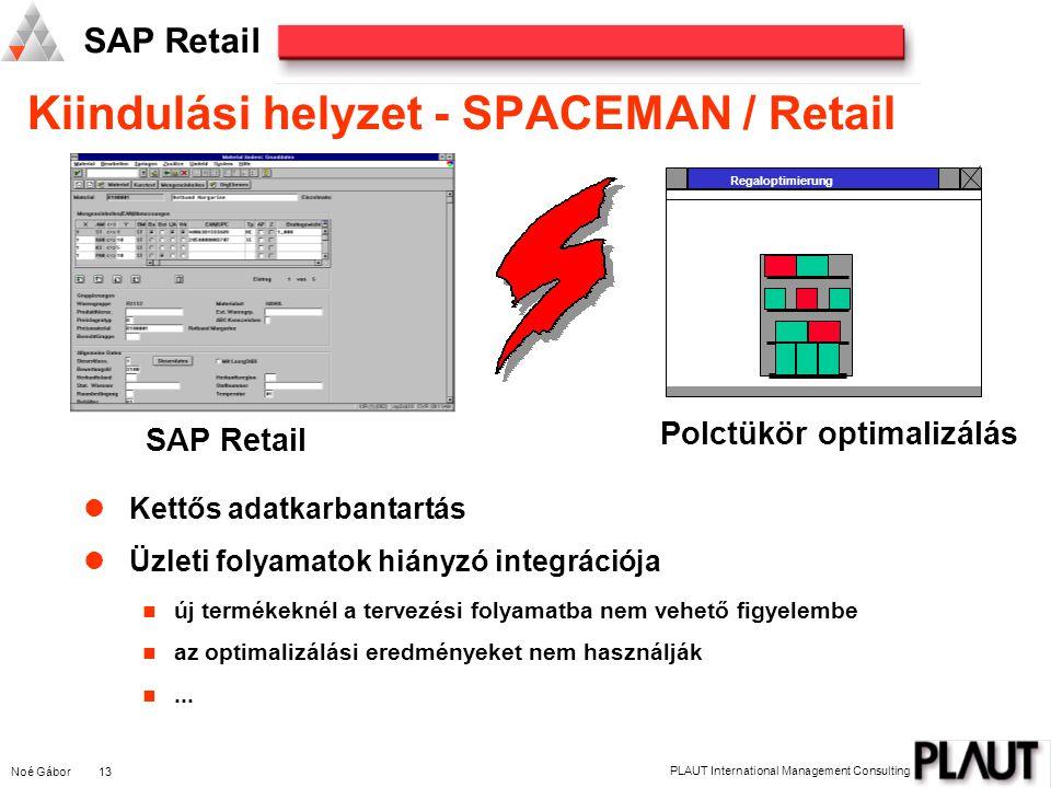 Noé Gábor 13 PLAUT International Management Consulting SAP Retail Kettős adatkarbantartás Üzleti folyamatok hiányzó integrációja új termékeknél a tervezési folyamatba nem vehető figyelembe az optimalizálási eredményeket nem használják...