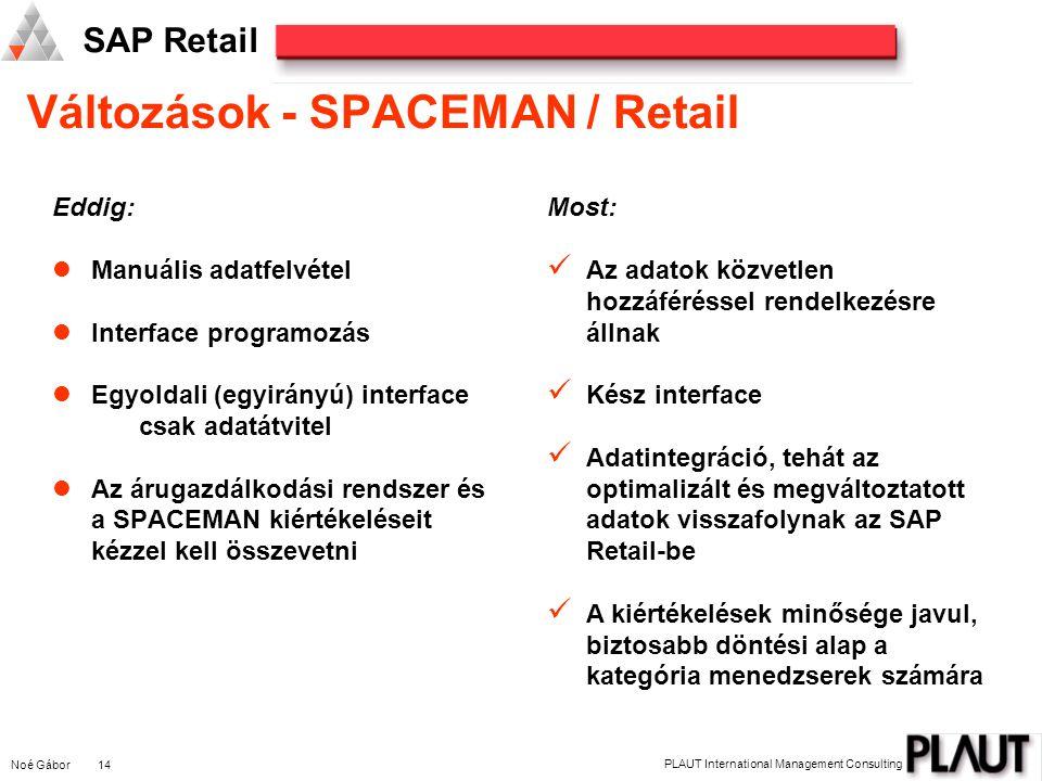 Noé Gábor 14 PLAUT International Management Consulting SAP Retail Eddig: Manuális adatfelvétel Interface programozás Egyoldali (egyirányú) interface csak adatátvitel Az árugazdálkodási rendszer és a SPACEMAN kiértékeléseit kézzel kell összevetni Most: Az adatok közvetlen hozzáféréssel rendelkezésre állnak Kész interface Adatintegráció, tehát az optimalizált és megváltoztatott adatok visszafolynak az SAP Retail-be A kiértékelések minősége javul, biztosabb döntési alap a kategória menedzserek számára Változások - SPACEMAN / Retail