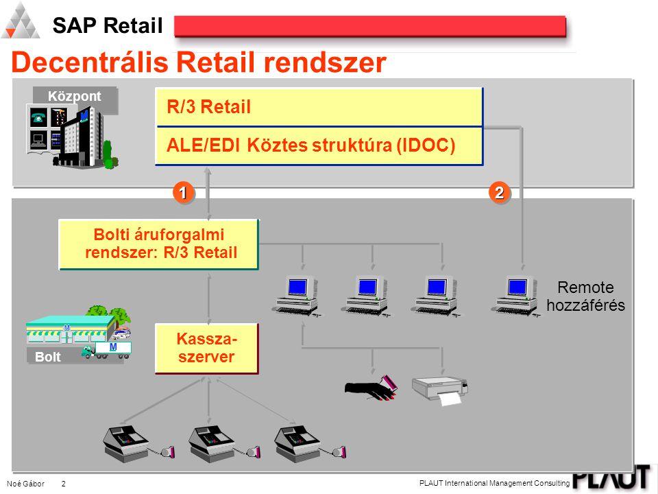 Noé Gábor 2 PLAUT International Management Consulting SAP Retail Decentrális Retail rendszer Központ M M M Bolt M M M Kassza- szerver Bolti áruforgalmi rendszer: R/3 Retail R/3 Retail ALE/EDIKöztes struktúra (IDOC) Remote hozzáférés 1122