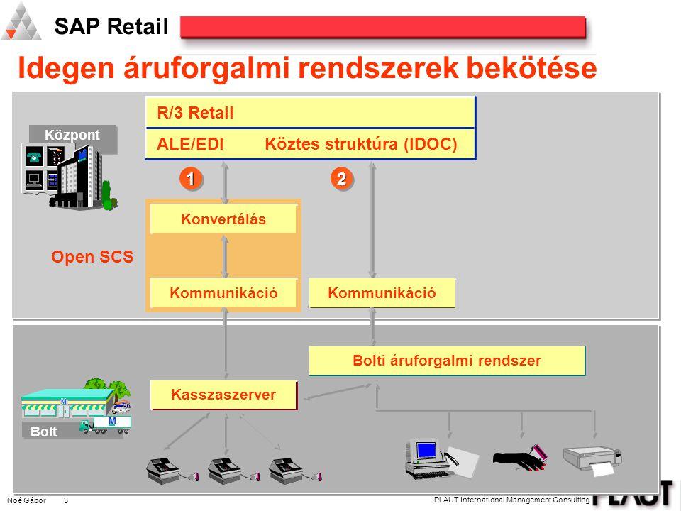 Noé Gábor 3 PLAUT International Management Consulting SAP Retail Idegen áruforgalmi rendszerek bekötése Központ M M M Bolt M M M R/3 Retail ALE/EDIKöztes struktúra (IDOC) 1122 Open SCS Konvertálás Kommunikáció Kasszaszerver Bolti áruforgalmi rendszer Kommunikáció