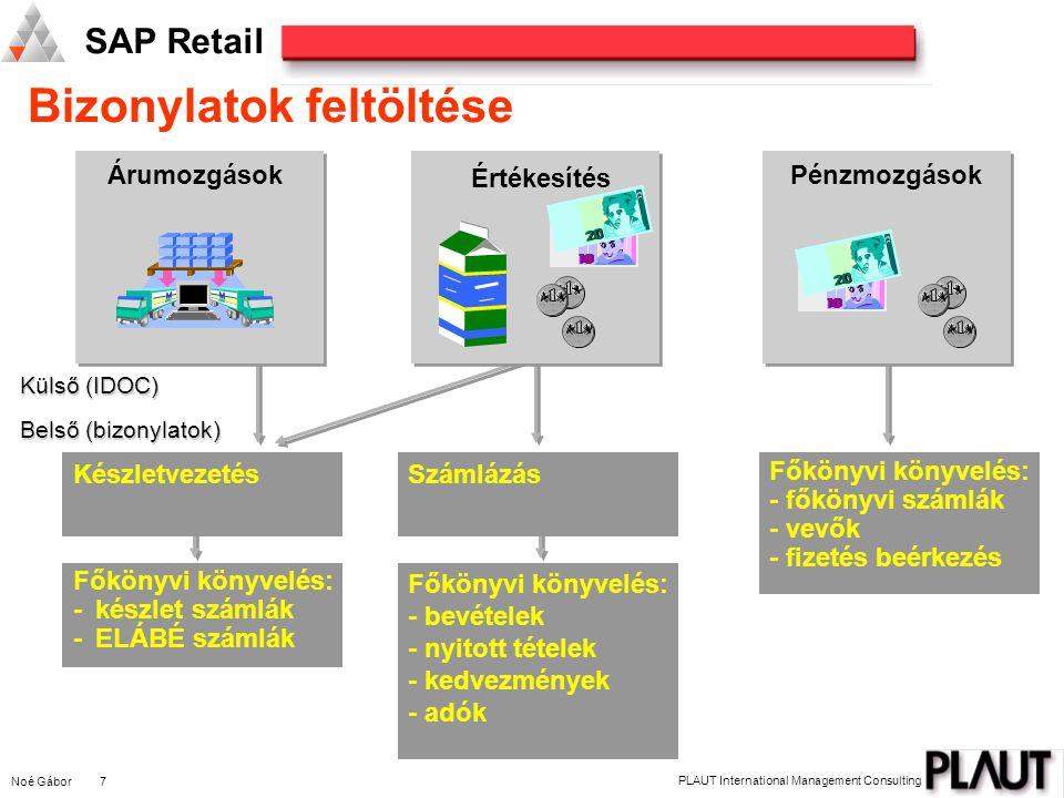 Noé Gábor 7 PLAUT International Management Consulting SAP Retail Bizonylatok feltöltése Külső (IDOC) Belső (bizonylatok) Főkönyvi könyvelés: - főkönyvi számlák - vevők - fizetés beérkezés SzámlázásKészletvezetés ÁrumozgásokPénzmozgások DEUTSCHE MARK DEUTSCHE MARK DEUTSCHE MARK Értékesítés Főkönyvi könyvelés: - bevételek - nyitott tételek - kedvezmények - adók Főkönyvi könyvelés: -készlet számlák -ELÁBÉ számlák DEUTSCHE MARK DEUTSCHE MARK DEUTSCHE MARK