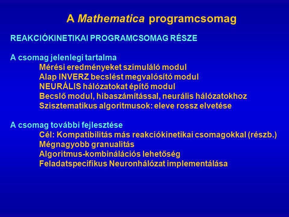 A Mathematica programcsomag REAKCIÓKINETIKAI PROGRAMCSOMAG RÉSZE A csomag jelenlegi tartalma Mérési eredményeket szimuláló modul Alap INVERZ becslést megvalósító modul NEURÁLIS hálózatokat építő modul Becslő modul, hibaszámítással, neurális hálózatokhoz Szisztematikus algoritmusok: eleve rossz elvetése A csomag további fejlesztése Cél: Kompatibilitás más reakciókinetikai csomagokkal (részb.) Mégnagyobb granualitás Algoritmus-kombinálációs lehetőség Feladatspecifikus Neuronhálózat implementálása